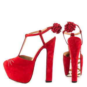 Red Cute Pompom Almond Toe Platform T-Strap Sandals Floral Heels