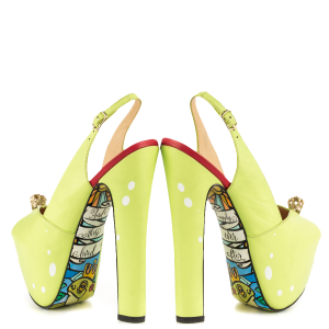 Light Yellow Slingback Pumps Printed Platform Heels Chunky Heels