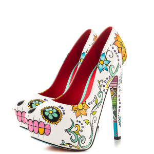 Women's Cute Flower Printed Stiletto Heels Almond Toe Platform Heels