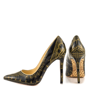Black and Gold 4 Inch Heels Floral Printed Pointy Toe Stiletto Heels Pumps