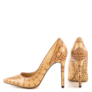 Women's Khaki Floral Printed Vintage Heels Pointy Toe Stiletto Heels Pumps