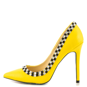 Women's Yellow Rhinestone Dress Shoes Floral Printed Stiletto Heels Pumps
