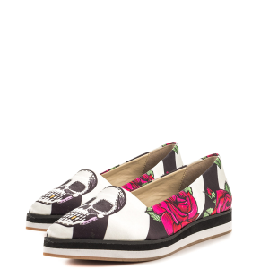 Black and White Floral and Skull Printed Casual Shoes for Women