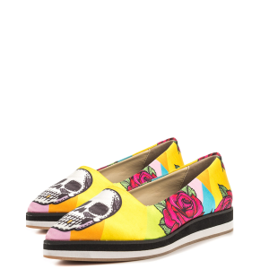 Yellow Floral and Skull Printed Pointy Toe Casual Shoes for Women