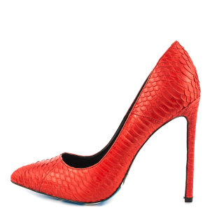 Red Stiletto Heels Skull Print Python Sexy Pumps