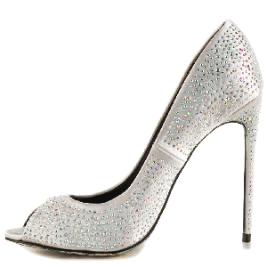 Women's Silver Sequined Wedding Shoes 4 Inch Heels Stiletto Heels