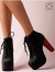 Black Lace up Boots Vintage Chunky Heels with Platform