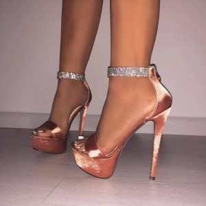 Blush Stiletto Heels Open Toe Sparkly Platform Ankle Strap Sandals