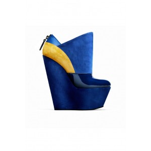 Royal Blue Wedge Booties Patent Leather and Suede Platform Boots