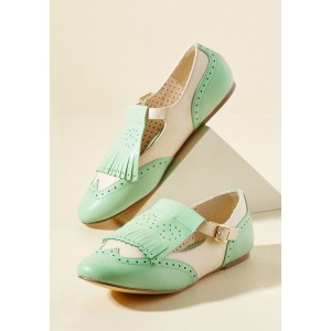 Mint Green Women's Oxfords Fringe Hollow out Comfortable Flats