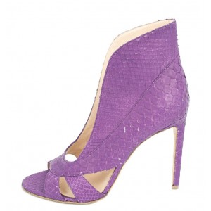 Purple Stiletto Heels Python Peep Toe Pumps for Women