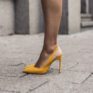 Women's Mustard Stiletto Heels Suede Pointy Toe Slingback Pumps
