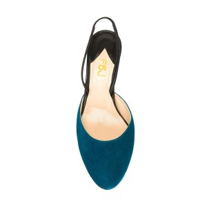 Teal Shoes Round Toe Slingback Pumps Kitten Heel Suede Shoes