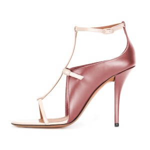 Women's Pink Gold T Strap Stiletto Heel Ankle Strap Sandals