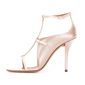 Women's Nude T Strap Stiletto Heel Ankle Strap Sandals