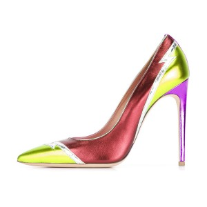 Multi-color Stiletto Heels Pointy Toe 5 Inch High Heel Pumps