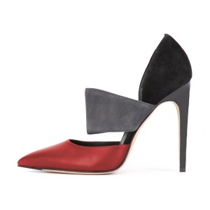 Multi-color Stiletto Heels Pointy Toe Cutout Pumps for Ladies