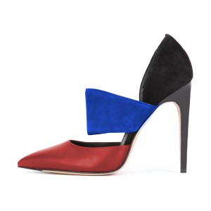Multi-color Stiletto Heels Pointy Toe Cutout Commuting Pumps for Ladies