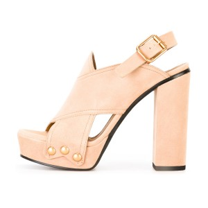 Blush Slingback Heels Open Toe Suede Sandals Chunky Heels
