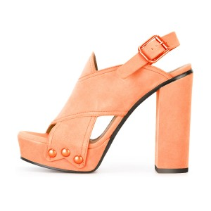 Orange Suede Open Toe Block Heel Platform Slingback Sandals