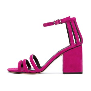 Women's Rose Chunky Heel Ankle Strap Sandals