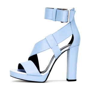 Women's Light Blue Block Heel Sandals Open Toe Ankle Strap Heels