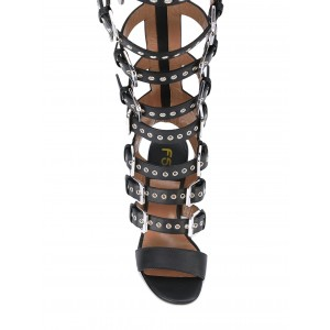 Women's Black Agraffe Hollow-out Chunky Heel Gladiator Sandals
