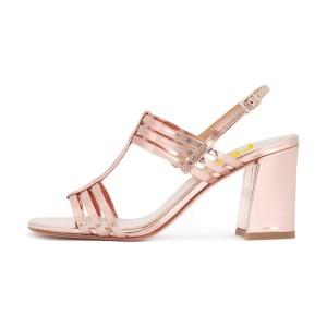 Metallic Pink Block Heels Sandals Open Toe Slingback Low Heel Sandals