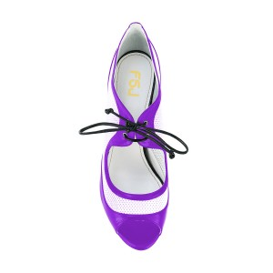 Women's Purple and White Peep Toe  Heels Lace Up Stiletto Heel Pumps