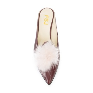 Maroon Wedge Heels Pointy Toe Mules Pumps with Fluffy Ball