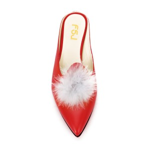 Red Wedge Heel White Fluffy Ball Mule Pumps