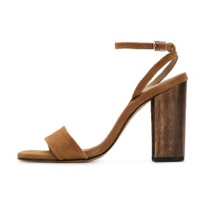Women's Brown Suede Block Heel Ankle Strap Sandals