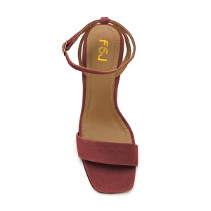 Women's Plum Suede Block Heel Ankle Strap Sandals