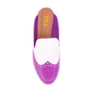 FSJ Purple Loafer Mules Low Heel Round Toe Wingtip Shoes for Women
