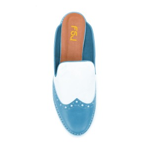 FSJ Cobalt Blue Loafer Mules Round Toe Wingtip Shoes for Women