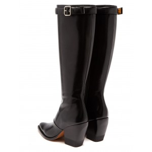 Black Block Heel Long Boots Knee-high Boots