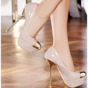 Women's Blush Gold Heels Dress Shoes Metal Toe Nude Platform Stiletto Heels Pumps