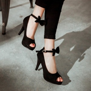 Women's Black Peep Toe Buckle Ankle Strap Heels Stiletto Heel Sandals