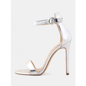 Silver Sandals Ankle Strap Stilettos High Heels