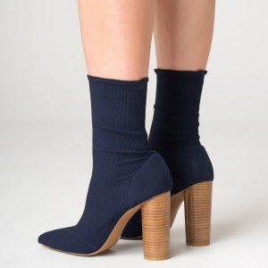 Navy Elastic Cylindrical Heeled Boots Pointy Toe Fashion Sock Boots