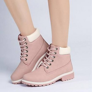 Women's Pink Round Toe Snow Boot