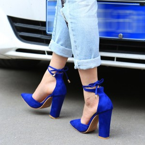Royal Blue Heels Suede Pointy Toe Tie up Trendy Chunky Heel Pumps