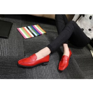 Women's Coral Red Square Toe Comfortable Flats Patent Leather Shoes