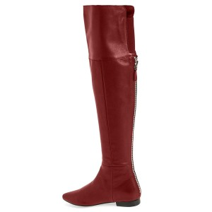 Coral Red Flat Over-The-Knee Boots