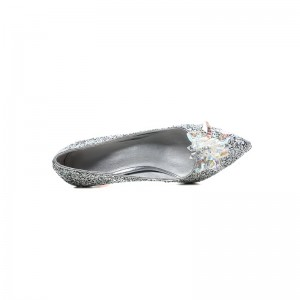 Silver Bridal Heels Crystal Stilettos Glitter Shoes for Wedding