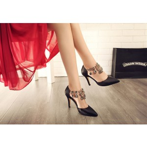 Leila Black Rhinestone Stiletto Heel Wedding Shoes