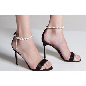 Women's Black Pearl Stiletto Heels Open Toe Ankle Strap Sandals