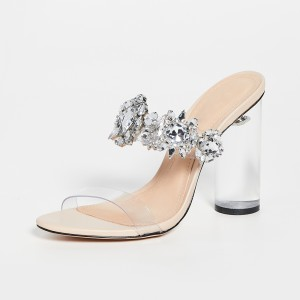 Open Toe Rhinestone Clear Sandals Chunky Heel Sandals