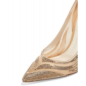 Champagne Lace Bridal Heels Crystal Decorated Stilettos Wedding Shoes