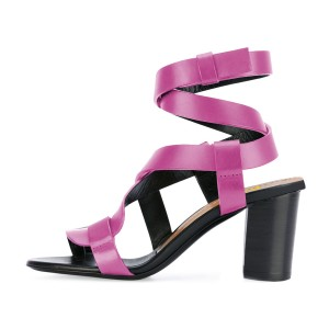 Hot Pink Strappy Sandals Toe-knob Block Heels
